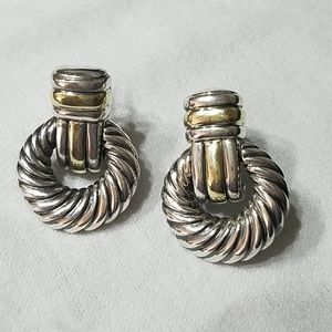 David Yurman Sterling Silver 14K Gold Earrings